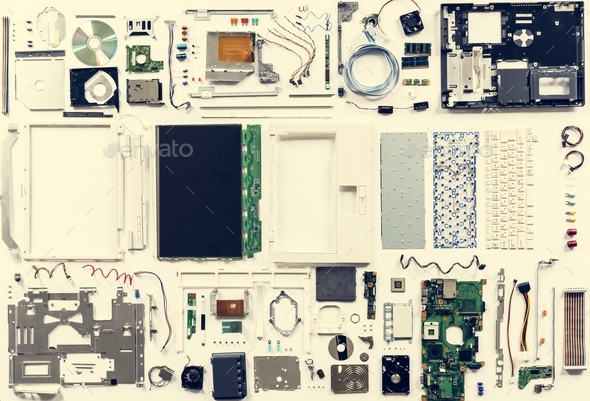 Computer hardware parts flat lay isolated on white - Stock Photo - Images