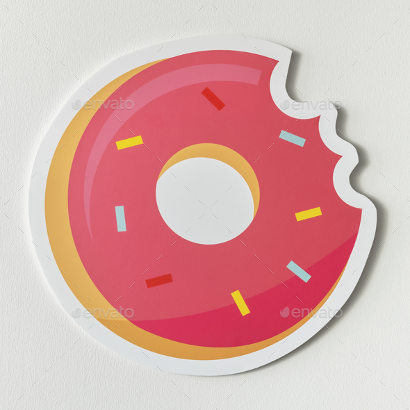 Sweet pink pastry doughnut icon - Stock Photo - Images