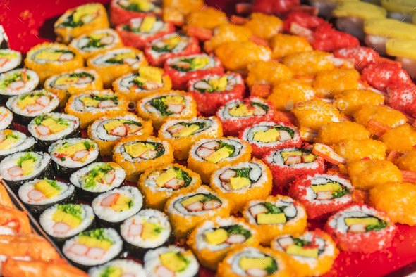 Colorful assortment of Sushi rolls - Stock Photo - Images