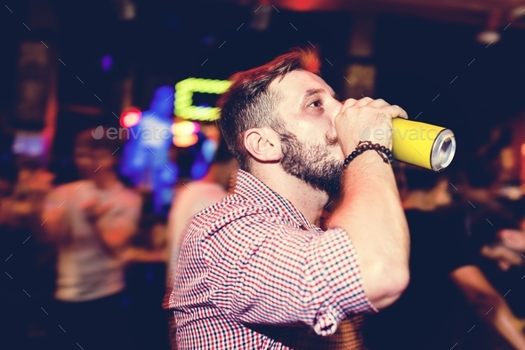 Man drinking beer - Stock Photo - Images