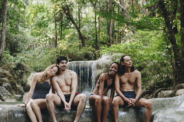 Group of diverse friends enjoying the nature - Stock Photo - Images