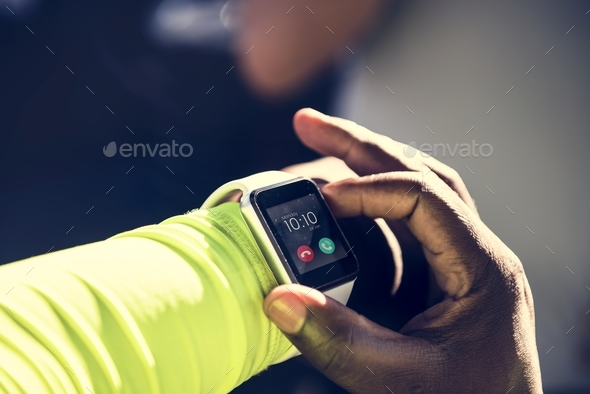 Closeup of smartwatch on a wrist - Stock Photo - Images