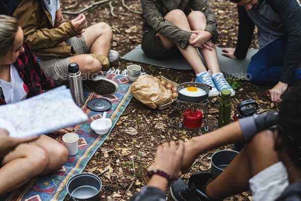 People camping in the forest - Stock Photo - Images