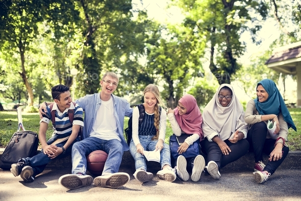 A group of diverse teenagers - Stock Photo - Images