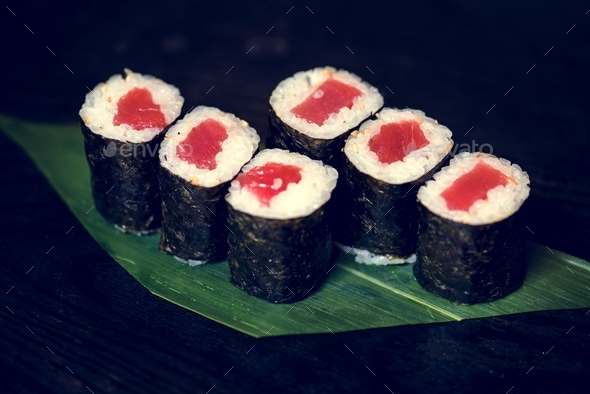 Tuna sushi roll japanese food - Stock Photo - Images