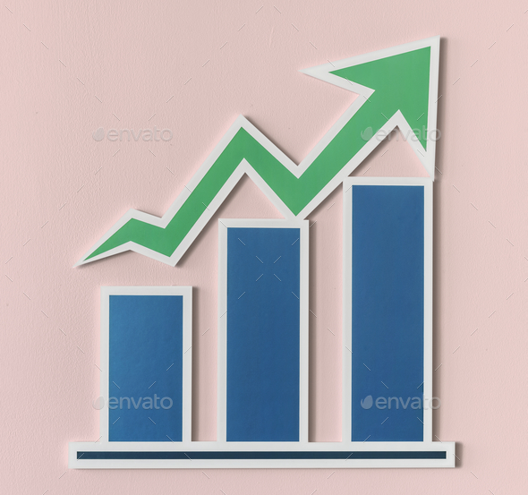 Business growth bar chart icon - Stock Photo - Images