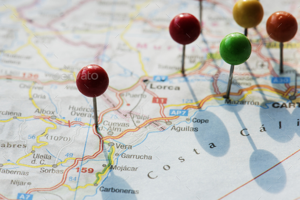 Closeup of pins on the map planning travel journey - Stock Photo - Images