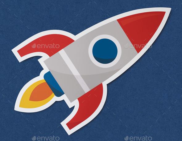 Rocket ship launching symbol icon - Stock Photo - Images
