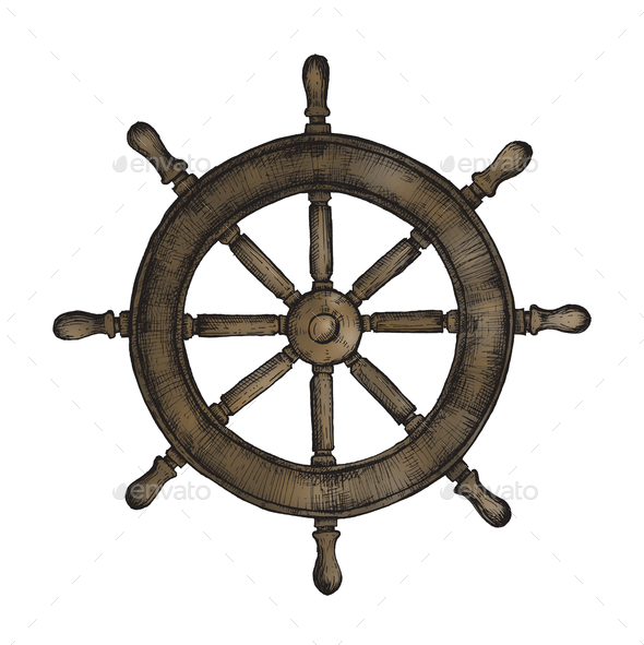 Hand drawn ship wheel - Stock Photo - Images