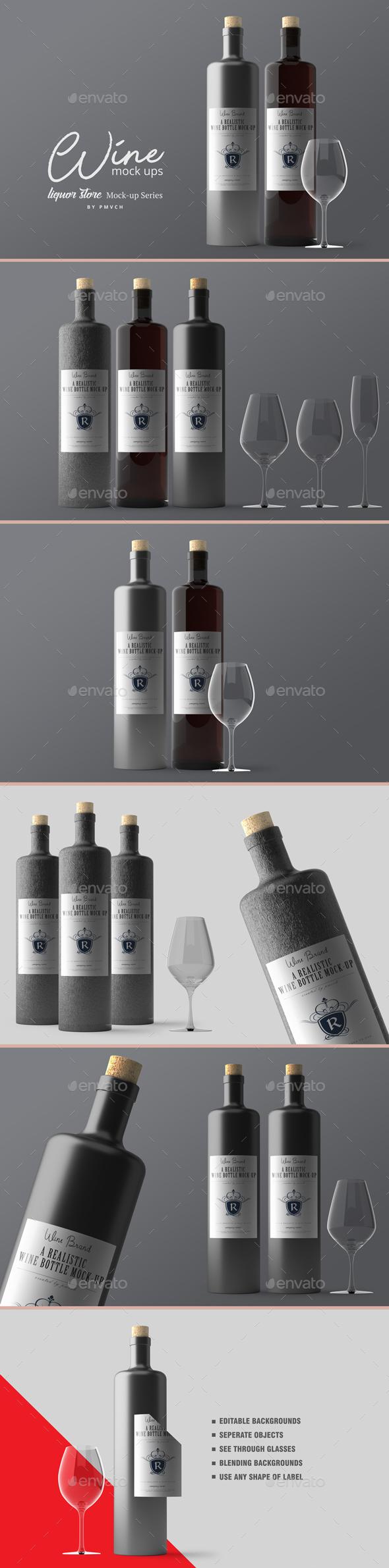 Wine Mockups V.2 - Food and Drink Packaging