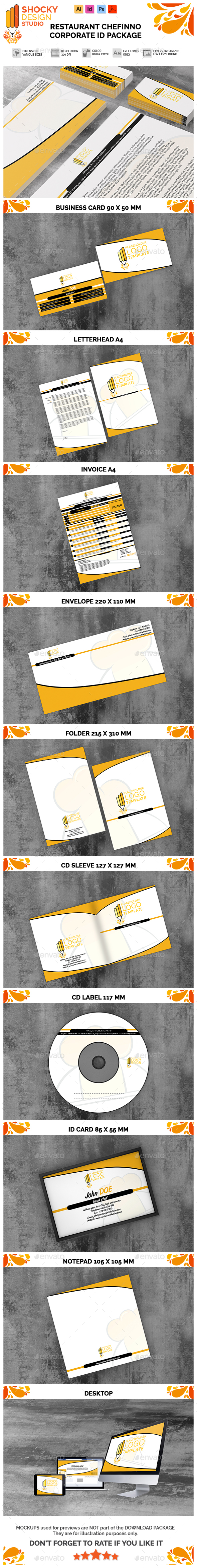 Restaurant Chefinno Corporate ID Package - Stationery Print Templates