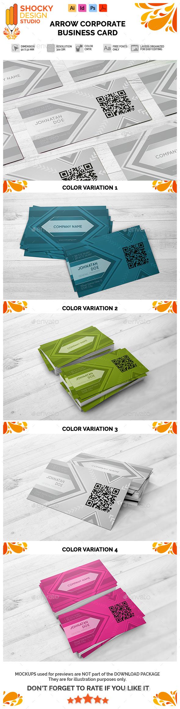 Corporate Business Card Arrow Template - Corporate Business Cards