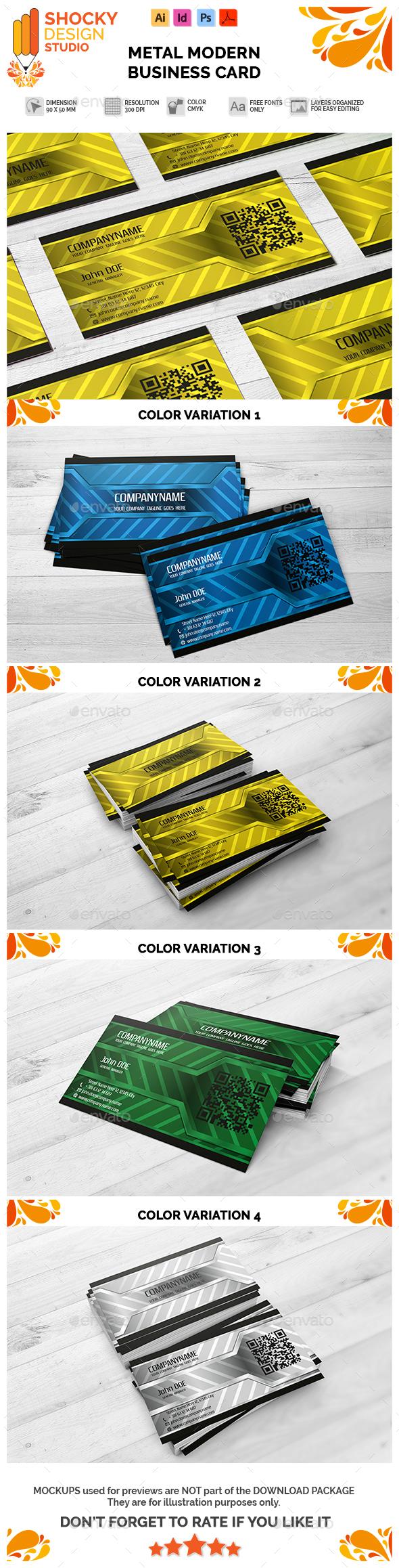 Modern Business Card Metal Template - Creative Business Cards