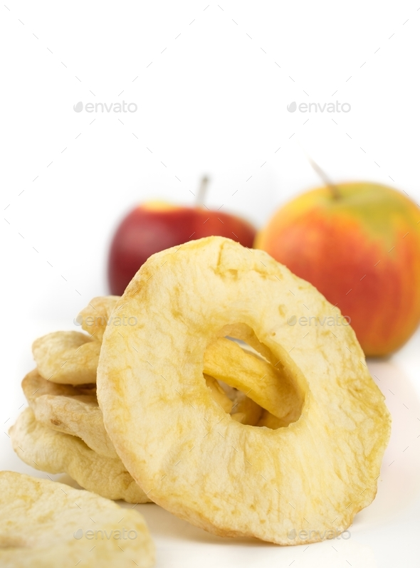 A close up of dried apple rings  - Stock Photo - Images
