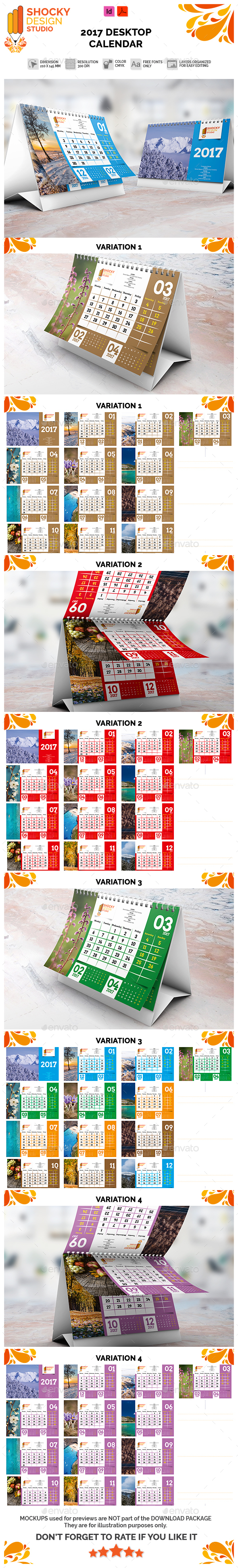 2017 Desktop Calendar Template - Calendars Stationery