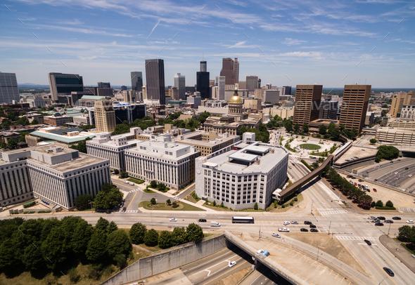 Downtown City Skyline Atlanta Georgia Metro Area Capital Town - Stock Photo - Images