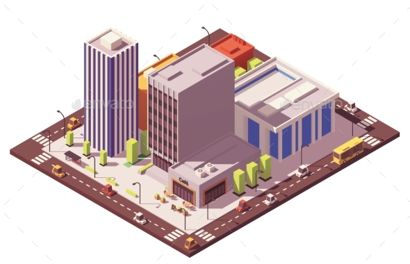 Vector Low Poly Isometric City Block - Buildings Objects