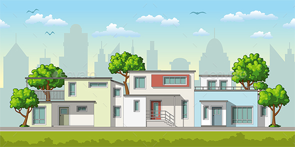 Illustration of Modern Family Houses - Buildings Objects