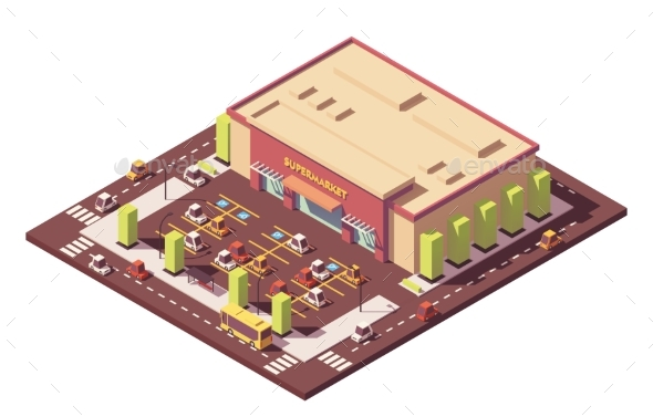 Vector Isometric Low Poly Supermarket - Buildings Objects