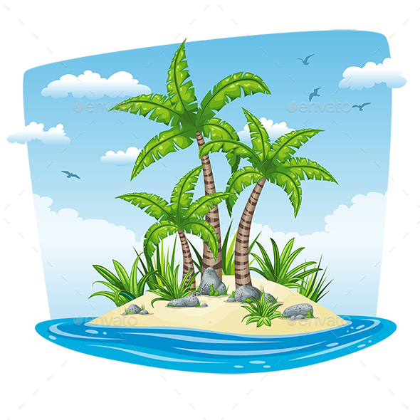 Illustration of a Tropical Isle Landscape - Landscapes Nature