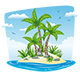 Illustration of a Tropical Isle Landscape - GraphicRiver Item for Sale