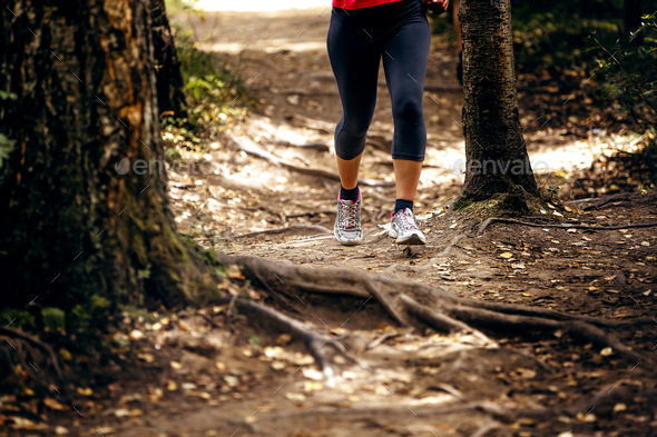 leg women runner in black leggings - Stock Photo - Images