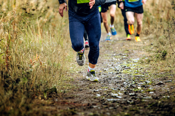 runner leader run mountain trail - Stock Photo - Images