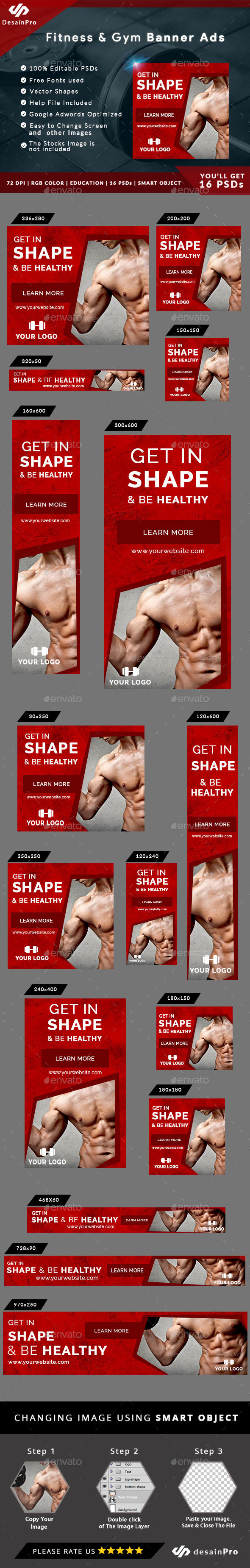 Fitness and Gym Ad Banners - AR - Banners & Ads Web Elements