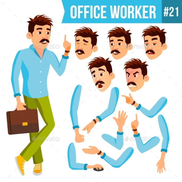 Office Worker Vector. Emotions, Gestures - People Characters
