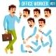Office Worker Vector. Emotions, Gestures