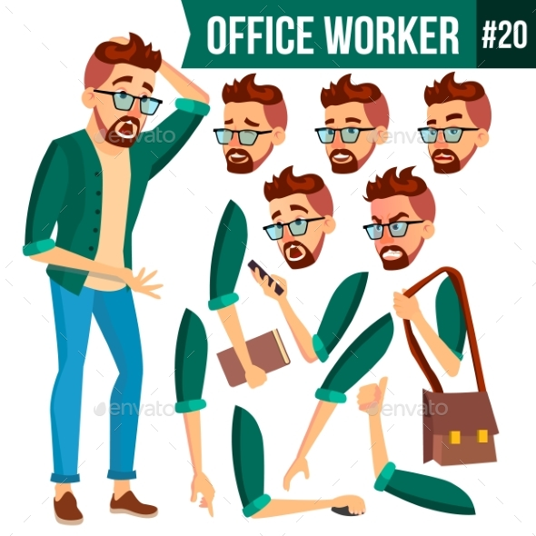 Office Worker Vector. Face Emotions, Gestures - People Characters