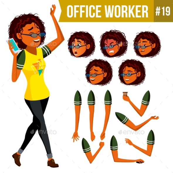 Office Worker Vector. Woman. Modern Employee - People Characters