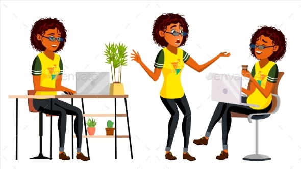 Business African Black Woman Character Vector - People Characters