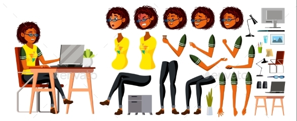 African Black Business Woman Character Vector - People Characters
