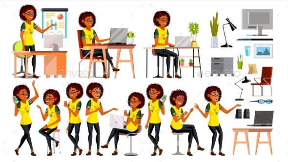 Business African Black Woman Character Vector. - People Characters