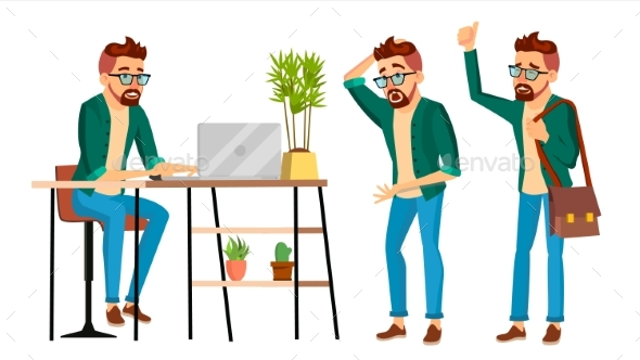 Business Man Character Vector. Hipster Working Man - People Characters