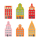 Set of Decorative Netherland Houses Icons