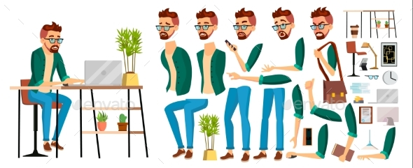 Business Man Worker Character Vector. Hipster - People Characters
