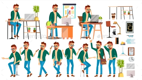 Business Man Character Vector. Hipster Working - People Characters