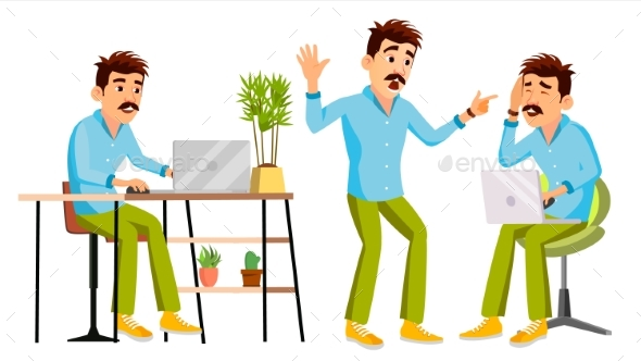 Business Man Character Vector. Working Man - People Characters