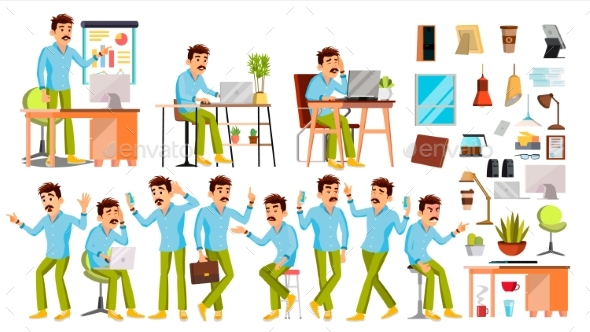 Business Man Character Vector. Working People Set - People Characters