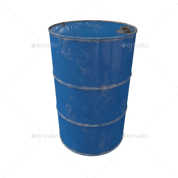 Old Metal Blue Barrel. Isolated. 3D Render. - Objects 3D Renders