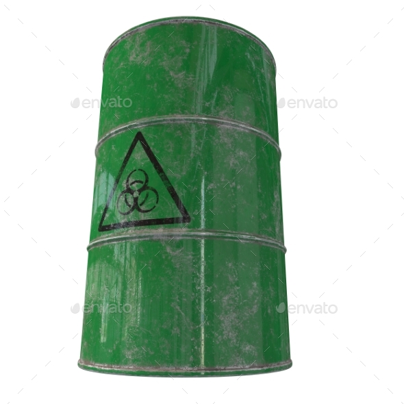 Barrel of Biological Waste. Isolated. 3D Render. - Objects 3D Renders