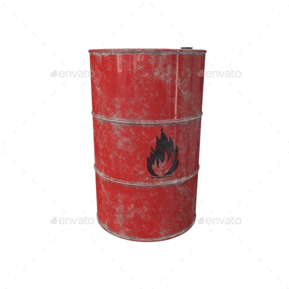 Barrel with Flammable Contents. 3D Render. - Objects 3D Renders