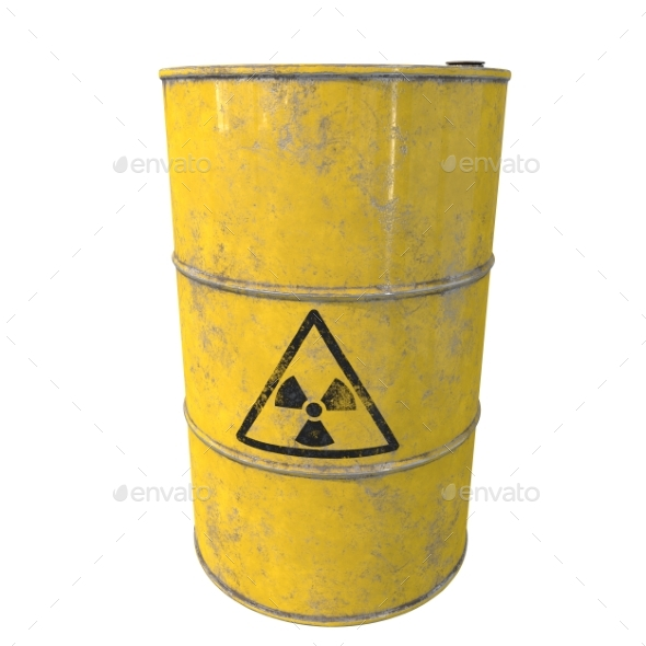 Barrel with Radioactive Waste. Isolated. 3D Render - Objects 3D Renders