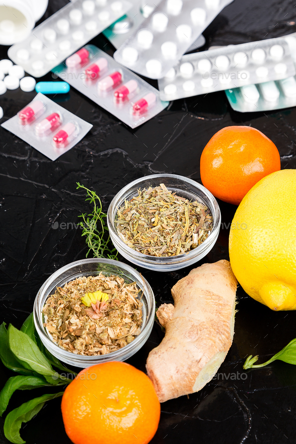 Natural medicine vs conventional medicine concept. - Stock Photo - Images