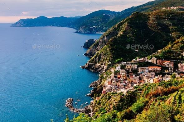 View of the city Manarola. Cinque Terre National Park, Liguria Italy. - Stock Photo - Images