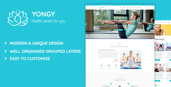 Yongy - Health and Yoga PSD Template - Health & Beauty Retail