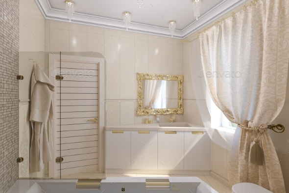 3D Render Luxury Bathroom Interior Design - Architecture 3D Renders