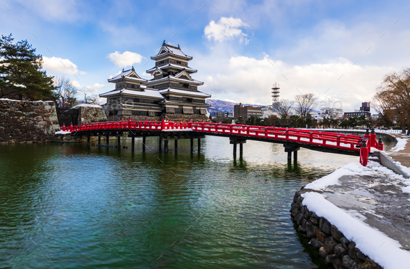 Matsumoto castle in W‌inter season, Nagano, Japan - Stock Photo - Images